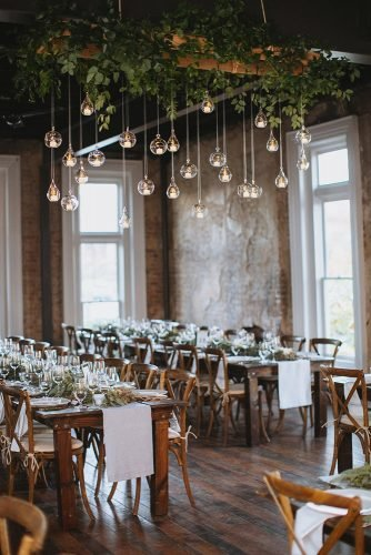 wedding ideas with candles barn reception with greenery and hanging flowers love is a big deal