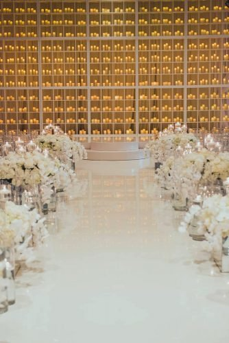 wedding ideas with candles ceremony backdrop and flower aisle luvroxphotography