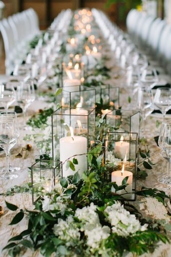 wedding ideas with candles greenery tablerunner with white candles graykammera