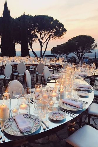 wedding ideas with candles modern outdoor reception with candle tablerunner janina bauer