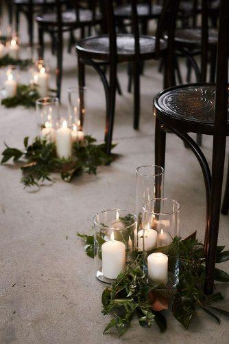 wedding ideas with candles wedding aisle with candles and greenery ericronaldphoto