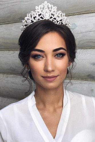 wedding makeup for brunettes blue eyes with crown hair by pustovalova