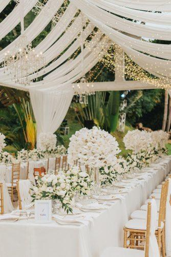 wedding tent bridal reception table white with orchid centerpieces and lighting under white tent terralogical