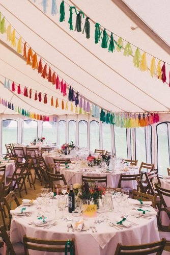 wedding tent reception bright colored brushes decor millar cole photography