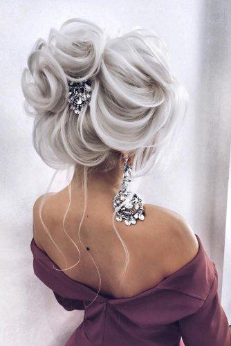 wedding updos for long hair elegant airy high bun on white hair alena_famina