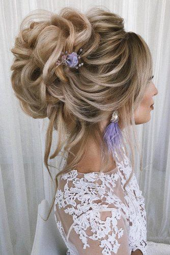 wedding updos for long hair elegant curly high updo with lilac flower komarova_websalon