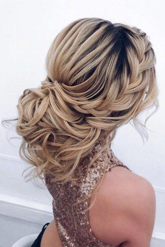 wedding updos for long hair elegant low updo with curls and braided crown elstilela