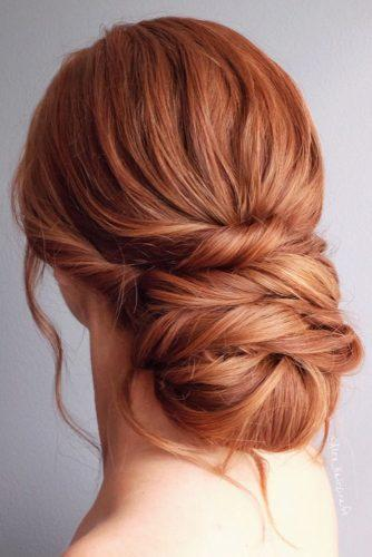 wedding updos for long hair elegant low volume bun on red hair alex_haircraft