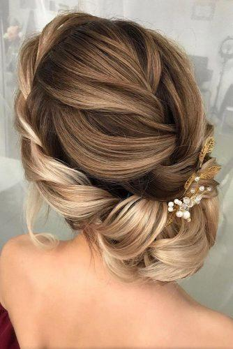 wedding updos for long hair elegant updo with braided texture milabeautykim via instagram