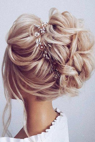 wedding updos for long hair high updo on blnde hair with accessory hairbyhannahtaylor