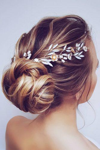 wedding updos for long hair low bun slightly messy with halo hairbyhannahtaylor