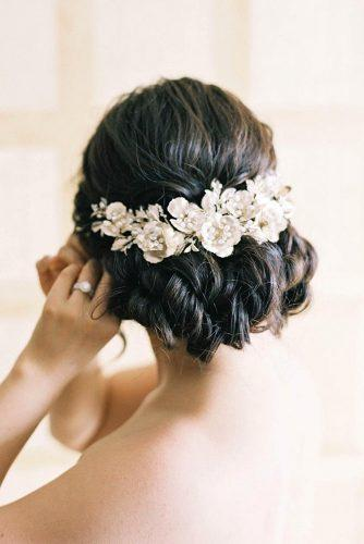 wedding updos for long hair low updo with white flowers jenhuangphoto via instagram