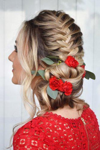 wedding updos for long hair side hairstyle with french braid styles_by_reneemarie via instagram