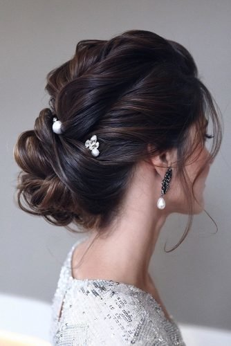 wedding updos for medium hair elegant low updo on black hair with pearls and crystals pins tonyastylist