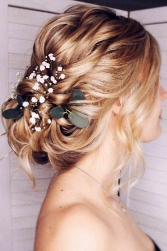 wedding updos for medium hair low updo with swept and baby breath bridal_hairstylist