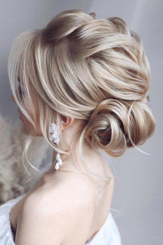 wedding updos for medium hair textured low side bun with braid tonyastylist