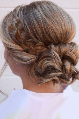 wedding updos for short hair braided with low bun wb upstyles
