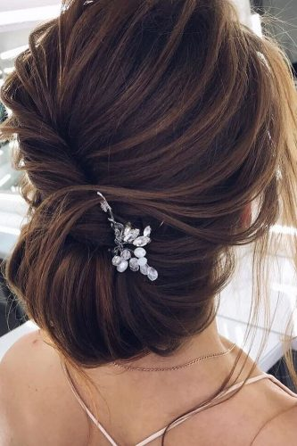 wedding updos for short hair messy updo with accessories verafursova