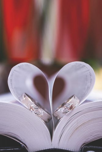 wedding vows book heart with rings