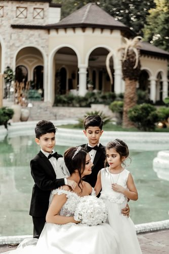 wedding vows bride with her children