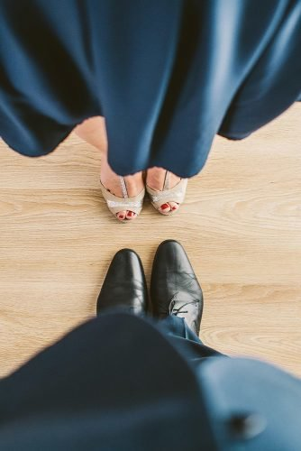 wedding vows suit couple blue shoes