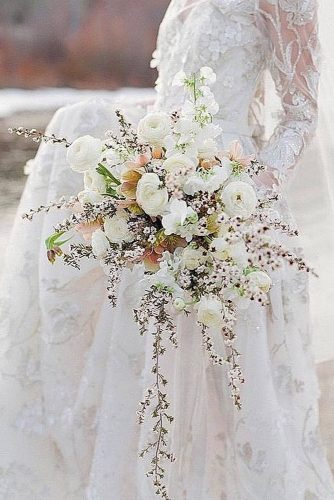 white wedding bouquets cascading with garden roses fine art wedding photographer via instagram