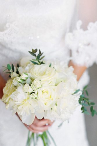 white wedding bouquets inspiration with big and small roses and gentle flowers with greenery marina muravnik via instagram