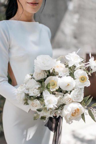 white wedding bouquets inspiration with gentle flowers and grey ribbons toniechristine