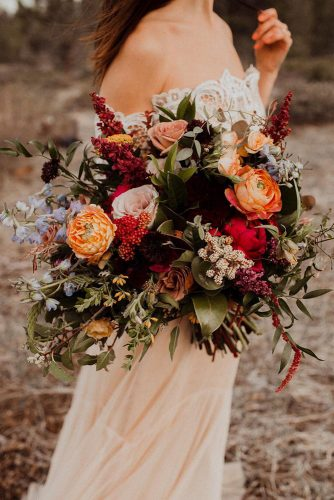 wildflower wedding bouquets autumn bouquets with pink roses orange flowers with greenery and blue flowers kaykroshus