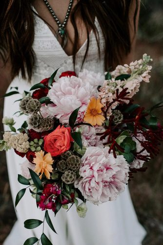 wildflower wedding bouquets blush peonies with greenery kaykroshus