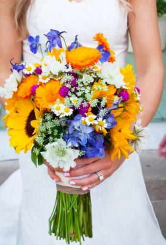 wildflower wedding bouquets bright bouquet with sunflower she n he photo