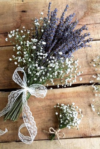 wildflower wedding bouquets rustic lavender and baby breath with white lace ribbon birsabunhikayesi