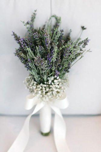 wildflower wedding bouquets small with lavender baby breath and white ribbons yeliz atici photography