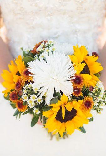 wildflower wedding bouquets sunflower with white flower michelle marie photograph