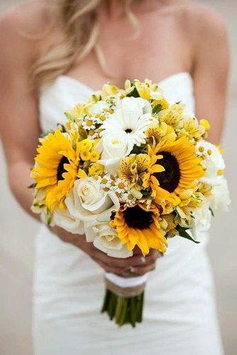 wildflower wedding bouquets white roses yellow orchids and sunflowers ashton howard photography