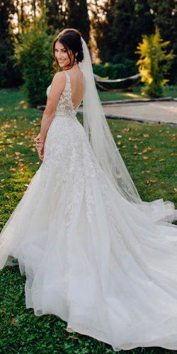 a line beautiful wedding dresses lace low back spaghetti straps with train claritysweden