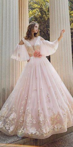 ball gown deep v neckline open shoulders lace with sleeves peach blush wedding dresses taipeiroyalwed