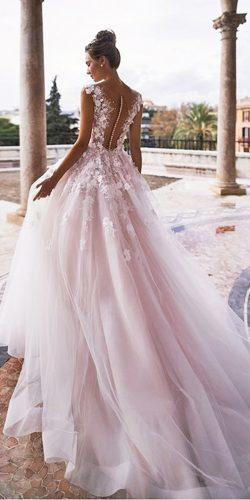 ball gown illusion backless floral applique cap sleeves peach blush wedding dresses noranaviano sposa