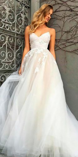 beautiful wedding dresses a line blush sweetheart neck spaghetti straps lace monique lhuillier