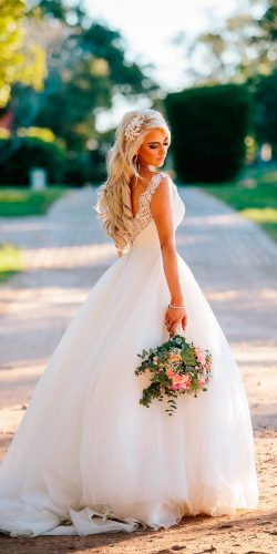 beautiful wedding dresses a line lace sleeveless open back allure bridals