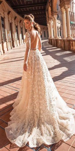 beautiful wedding dresses a line low back with long sleeves berta