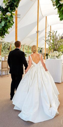 beautiful wedding dresses a line with straps low back open back annebarge