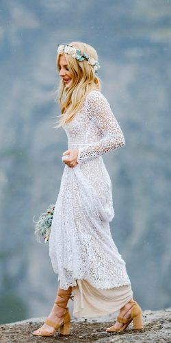 beautiful wedding dresses bohemian straight long sleeved lace saldanavintage
