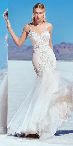beautiful wedding dresses fashion mermaid embroidered bodice with straps maggie sottero