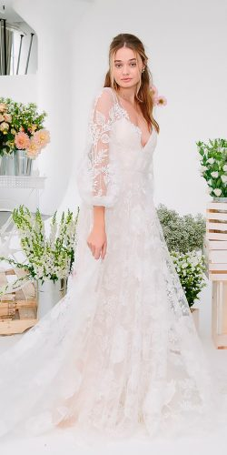 beautiful wedding dresses floral long sleeves flowy a line v neckline marchesa