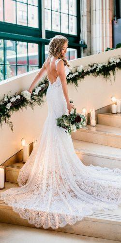 beautiful wedding dresses lace fit and flare low back sleeveless with train pnina-tornai