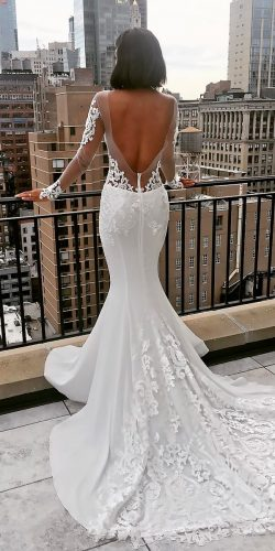 beautiful wedding dresses lace mermaid low back long sleeves pnina tornai