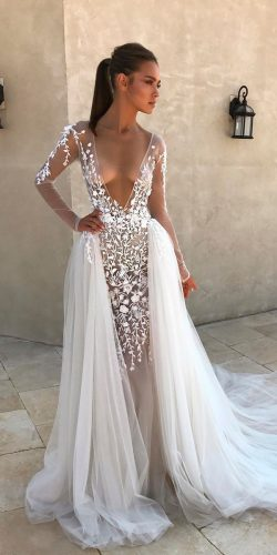 beautiful wedding dresses straight deep plunging v neckline long sleeves berta