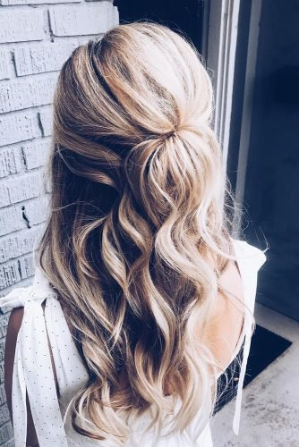 bridal hairstyles curly long blonde half up half down ashandcobridalhair