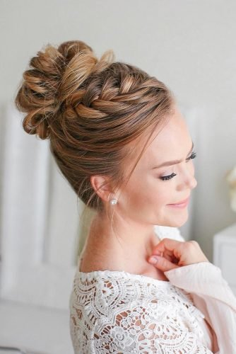 bridal hairstyles high bun with braided texture updo on long blonde hair missysueblog